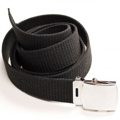 Long Casual Web Belt - Black