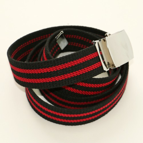 Long Casual Web Belt - Black/Red