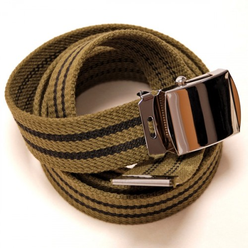 Long Casual Web Belt - Green/Black