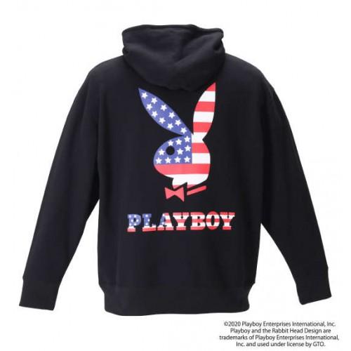 American Flag Embroidery Hoodie - Black