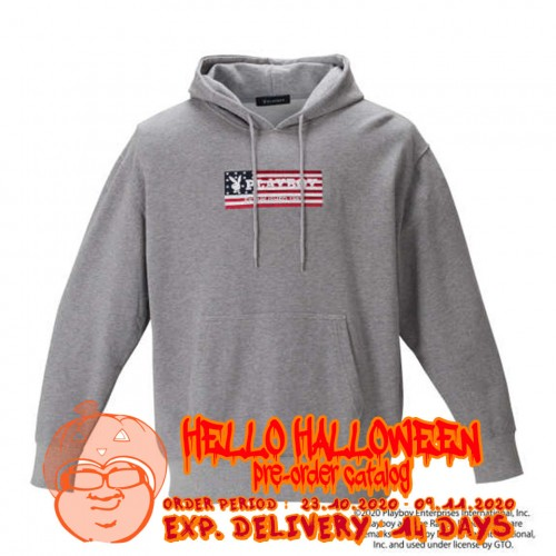 American Flag Embroidery Hoodie - Grey