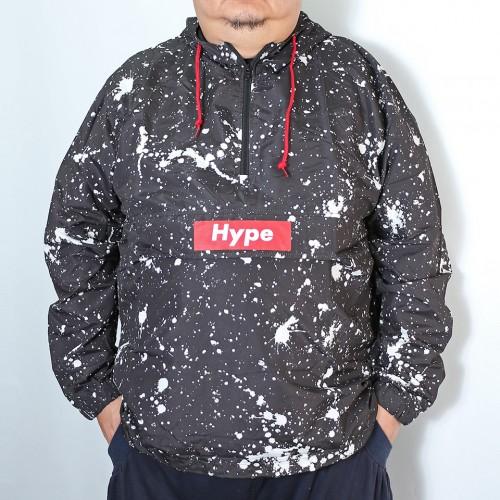 Hype Box Splatter Design Anorak Parka - Black