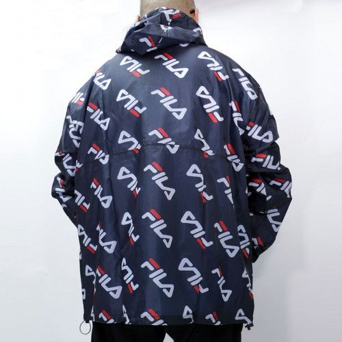All Over Diagonal Logo Anorak Jacket - Navy