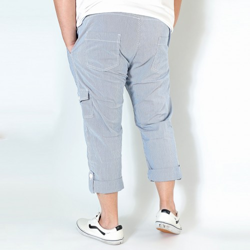 Organic Cotton Drawstring Cropped Pants - Stripe