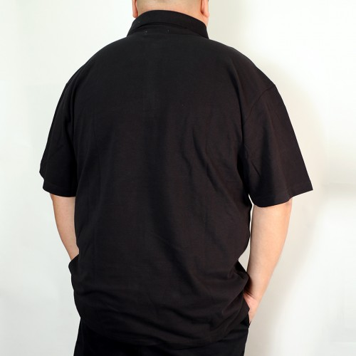 Asymmetrical Bias Design Polo Shirt - Black