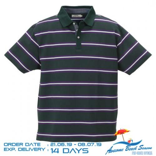 鹿の子 Border Pattern Polo Shirt - Dark Green