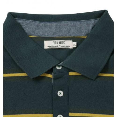 鹿の子 Border Pattern Polo Shirt - Navy Green
