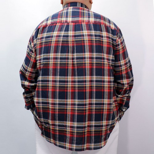 Checker L/S Button Down - Navy/Orange