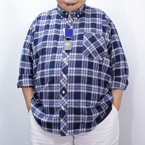 Checker L/S Button Down - Navy/Blue