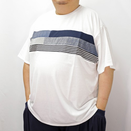 Blue Tone Patching Panel Tee - White